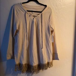 Tops - New York Laundry Oatmeal Fringe Shirt